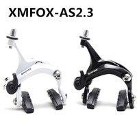XMFOX-AS2.3 1 Piece Bicycle Brake Racing Road Dual Pivot Bike Aluminum Side Pull Caliper Brake Front Rear Brake White Balck