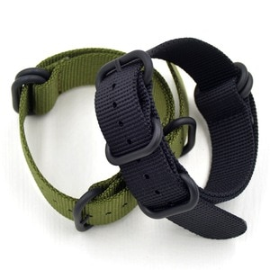 Classic fashion man 18 19 20 21 22 23 24 26mm Green Black Nylon NATO Strap Wristband With Ring Buckle For Military Watch bands