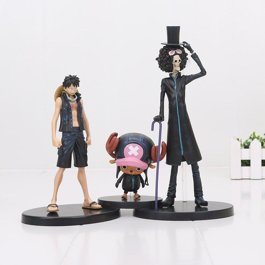 3 pçs/set Anime One Piece Monkey D Luffy figura Filme Ouro Tony Chopper Brook nami zoro PVC Figuras Brinquedos 9 ~ 22 cm