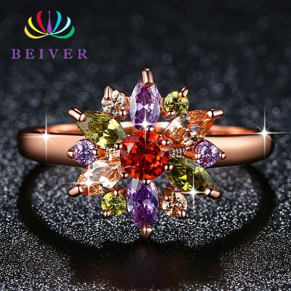 Anillo de flor de piedra de circón multicolor Beiver para mujer, anillo de compromiso/Joyería de fiesta de color rosa dorado