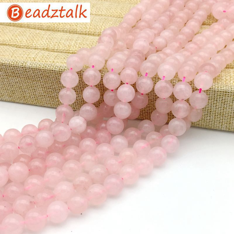 BEADZTALK Natural Rose Pink Quartz Stone Round Beads For Jewelry Making DIY Bracelet Necklace 4mm 6mm 8mm 10mm 12mm
