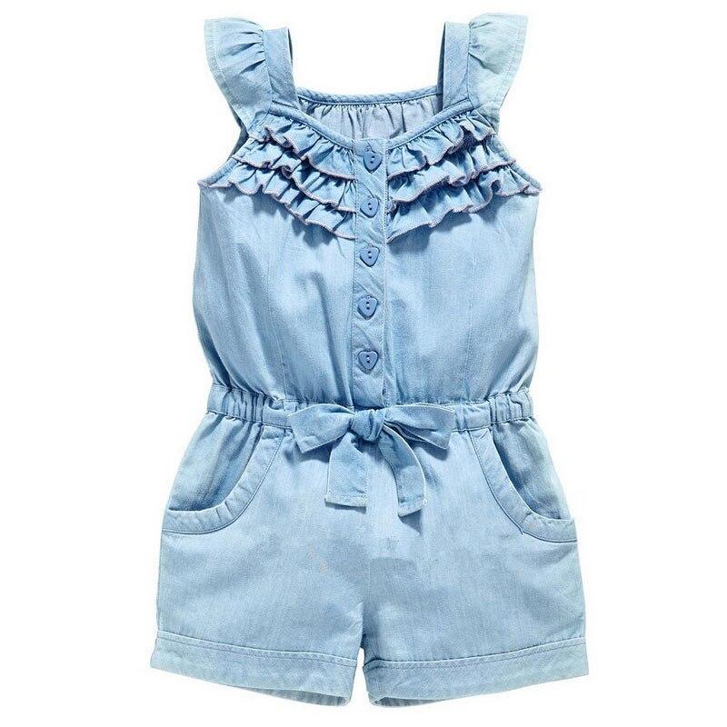 Verão criança meninas do miúdo floral geral, sem mangas, macacão, roupas, tamanho 2 a 6 anos