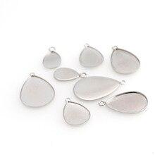 10pc acier inoxydable forme goutte deau taille intérieure 10x14/12x18/15x21/18x25mm pendentif Cabochon Base paramètres lunette fabrication de bijoux