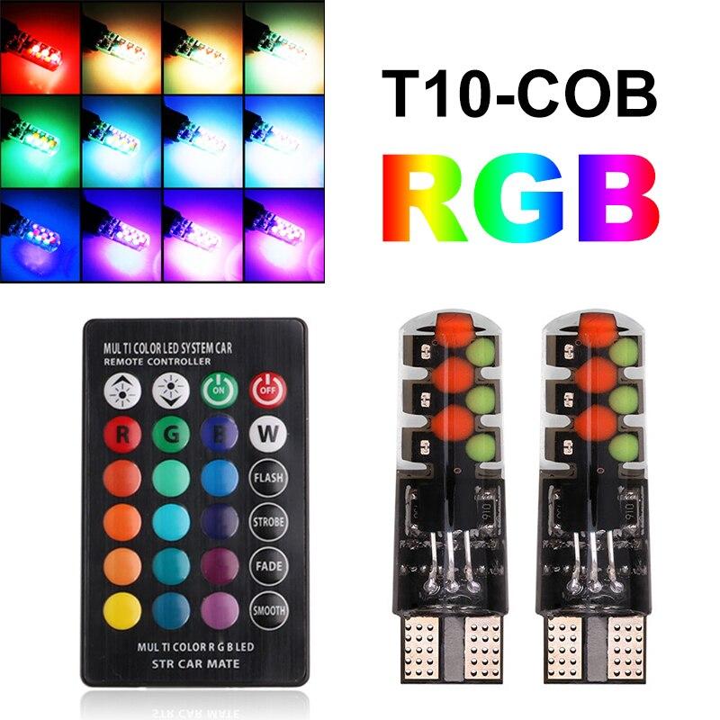 T10 RGB luces LED W5W 194 Luz de liquidación Led para coche T10 RGB COB 12SMD lámpara colorida con control remoto T10 bombillas LED COB
