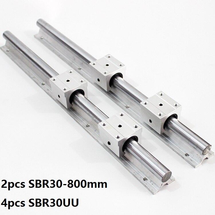2 قطعة SBR30 30 مللي متر 800 مللي متر دعم خطي دليل السكك الحديدية مع 4 قطعة SBR30UU الخطي تحمل انزلاق كتل ل CNC راوتر