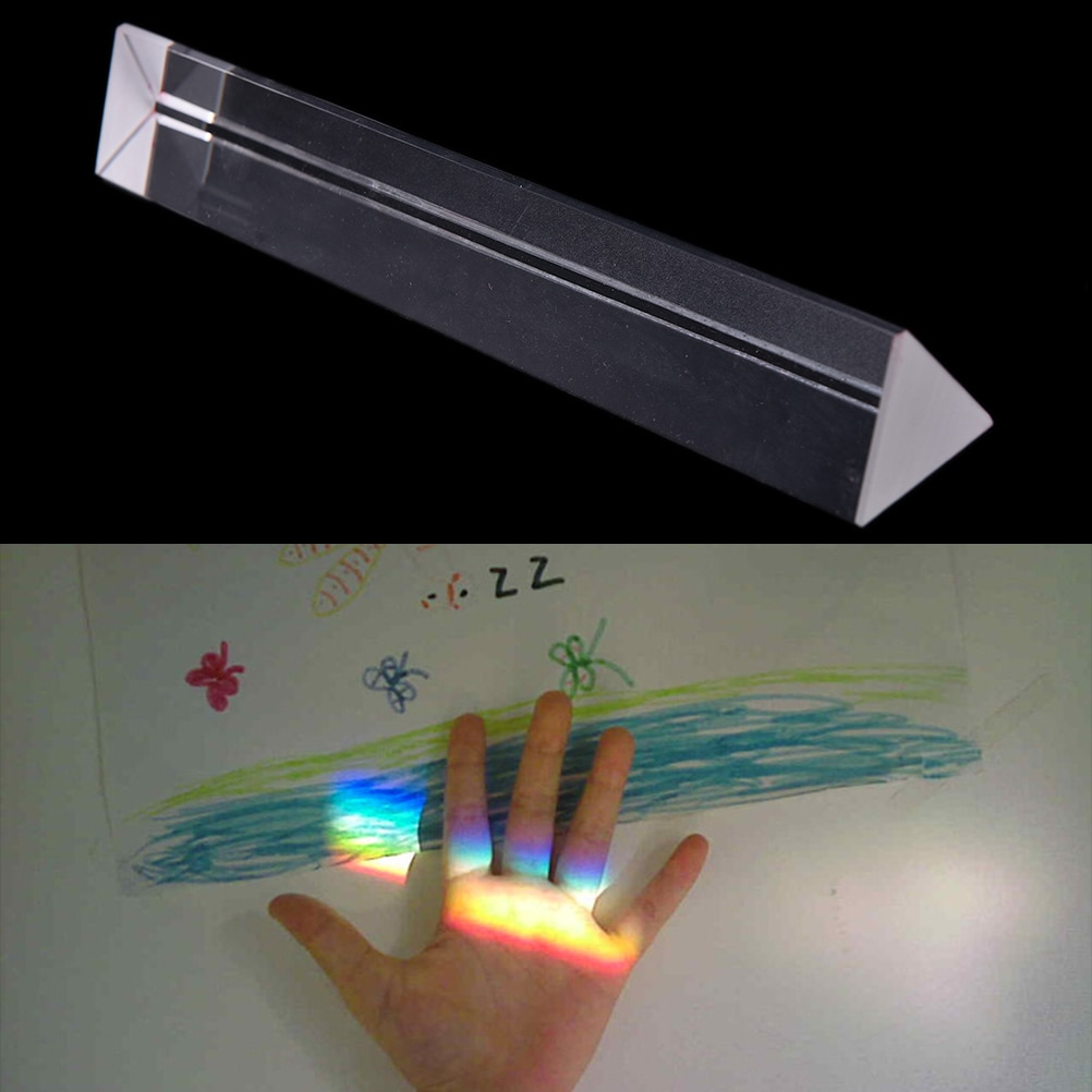 Triple Triangular prisma vidrio óptico física enseñanza espectro de luz tamaño 200mm x 30mm x 30mm