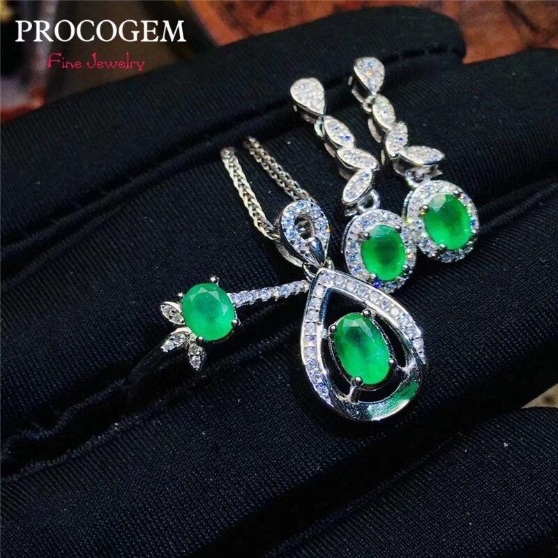Modny naturalny szmaragd biżuteria zestawy dla kobiet dzień matki prezenty naszyjnik pierścień kolczyki prawdziwe zielone klejnoty 925 litego srebra #609