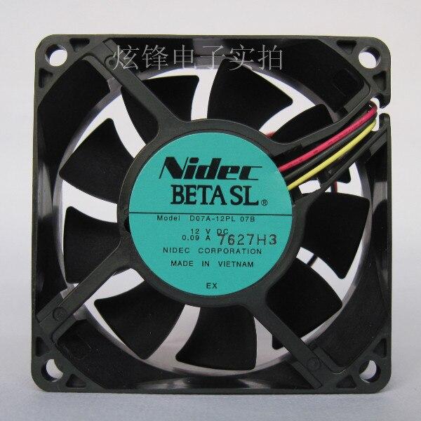 Nuevo Original Nidec D07A-12PL 07B 7025 DC12V 0.09A 7 cm mudo ordenador ventilador de refrigeración