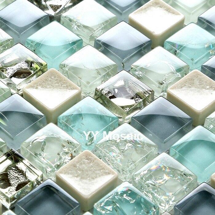 Azul Mediterráneo mosaico de cristal blanco gris azulejo DIY cocina backsplash Pared de ducha adhesivo TV chimenea fondo