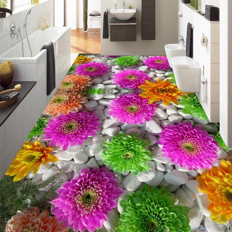 Custom Self-adhesive Floor Mural 3D Flowers Cobblestone Plants Floors Stickers Bathroom Living Room PVC Waterproof Wallpaper 3 D