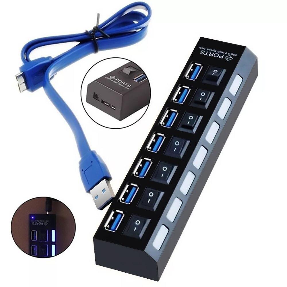 FDBRO Neue USB HUB 3,0 7 Ports Micro USB 3.0 HUB Splitter Mit Netzteil USB Hab High Speed 5Gbps USB Splitter 3 HUB Für PC