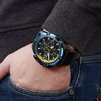 MEGIR Top Brand Men Creative Fashion Quartz Wrist Watch Waterproof Sport Watches Male Leather Strap Clock Relogio Masculino 2018