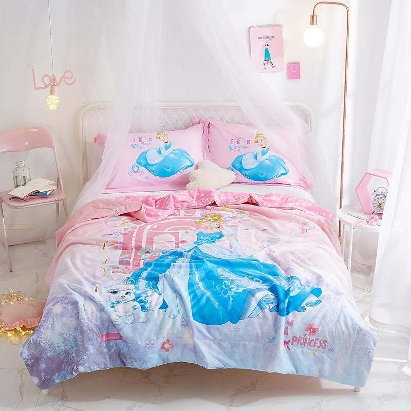 Disney pink Cindy Princess Quilts Summer Cotton Fabric Comforter Bedding Babies Girls Children Bed Cover Coverlet hot sale