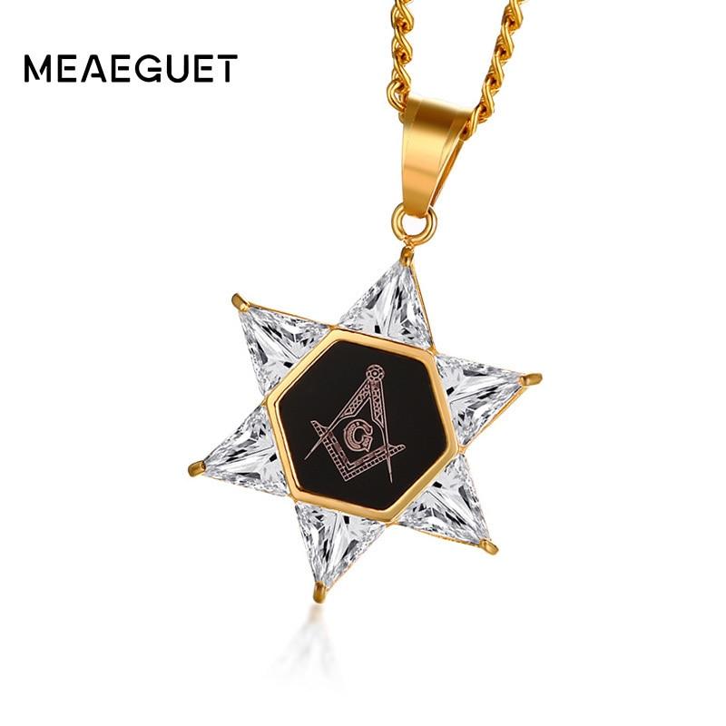 David Necklace for Men Masonic Pendant Stainless Steel Gold Color Mitzvah Gift Israel Judaica Hebrew Hanukkah Choker Jewelry