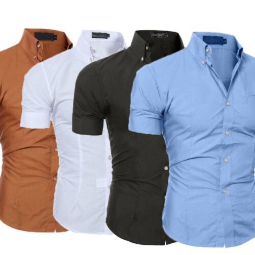Nuevo estilo camisa Formal de oficina para hombre, camisa de manga corta Gildan, blusa lisa, Camisa ajustada de negocios a la moda para hombre, camisa de talla grande M-3XL