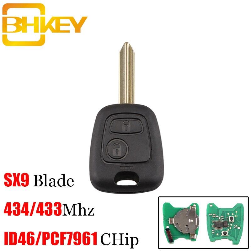 BHKEY 2 Botones de mando a distancia de coche para Citroen SX9 hoja sin cortar para Citroen Saxo Xsara Picasso Berlingo ID46/PCF7961 Chip