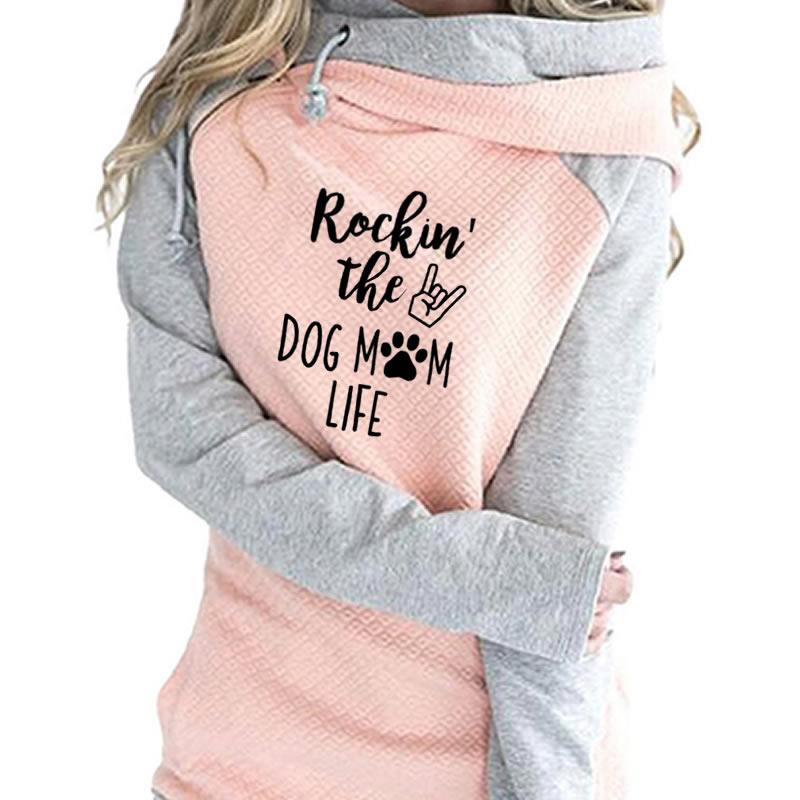 2019 nueva moda Rockin el perro mamá vida imprimir sudadera Femmes Tops Hoodies mujeres sudaderas gruesas Cute Hoody