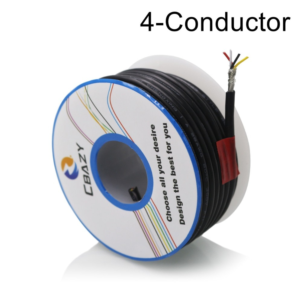 Многоядерный кабель управления 4C-Black-8M-UL 2547 28 AWG, медный провод, защищенный аудиокабель, кабель для наушников, сигнальная леска