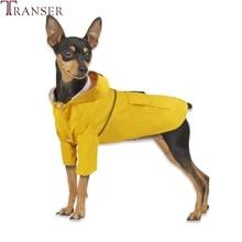 Transer impermeable con capucha para mascota pequeño abrigo de perro chubasquero de cachorro amarillo rojo marino mascota perro ropa para día lluvioso 90429