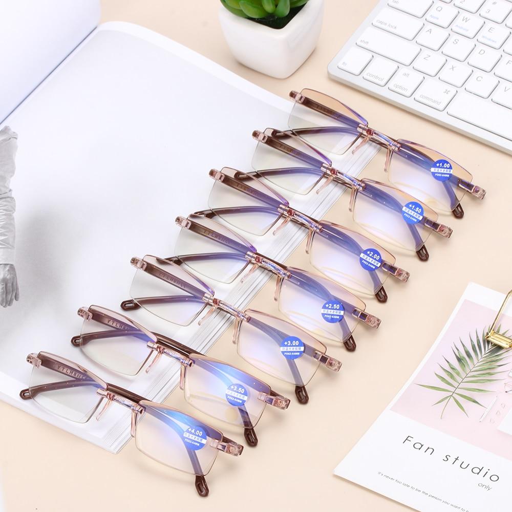 1PC Unisex Ultra Light Rimless Reading Glasses Anti Blue-ray Radiation Protection Presbyopia Computer Goggles +100--+400 Degree