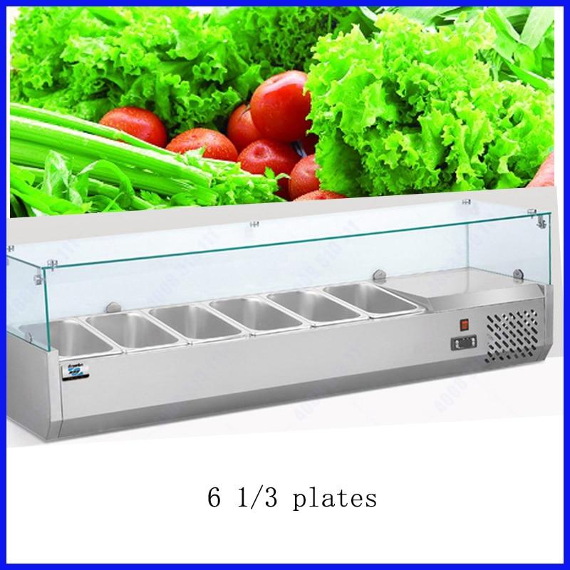 6 cacerolas compresor de importación Pizza estuche de exposición cocina refrigerador escaparate banco con refrigeración directa congelador profundo