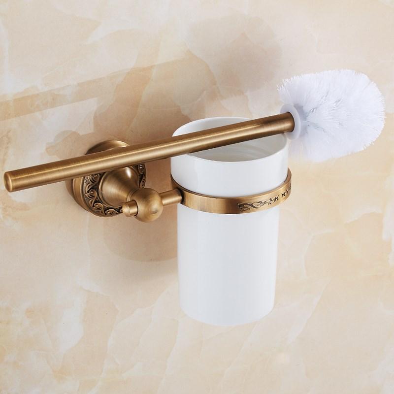 حامل فرشاة المرحاض النحاسي العتيق ، حامل فرشاة المرحاض الأوروبي العتيق LO731347