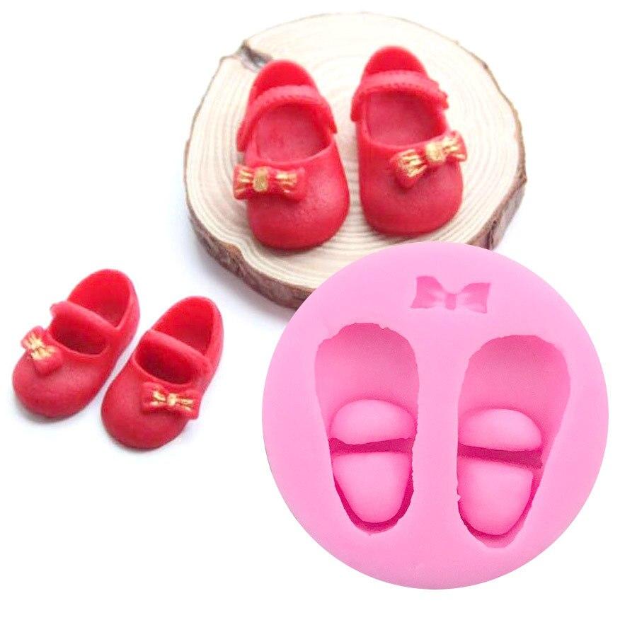 3D lindo bebé Zapatos moldes de pastel de silicona goma pasta de chocolate Fimo arcilla molde utensilios para decoración de tortas con fondant