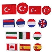 Turquia grã-bretanha reino unido rússia espanha canadá itália frança bandeira remendos etiqueta para roupas ferro em remendos listra emblemas remendo militar