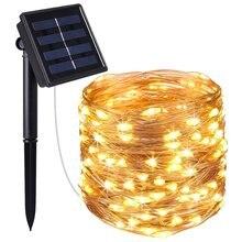 Guirlande lumineuse LED 5/10/20/30/40/50M guirlande lumineuse solaire guirlande fil de cuivre arrière-cour décoration de noël Halloween en plein air
