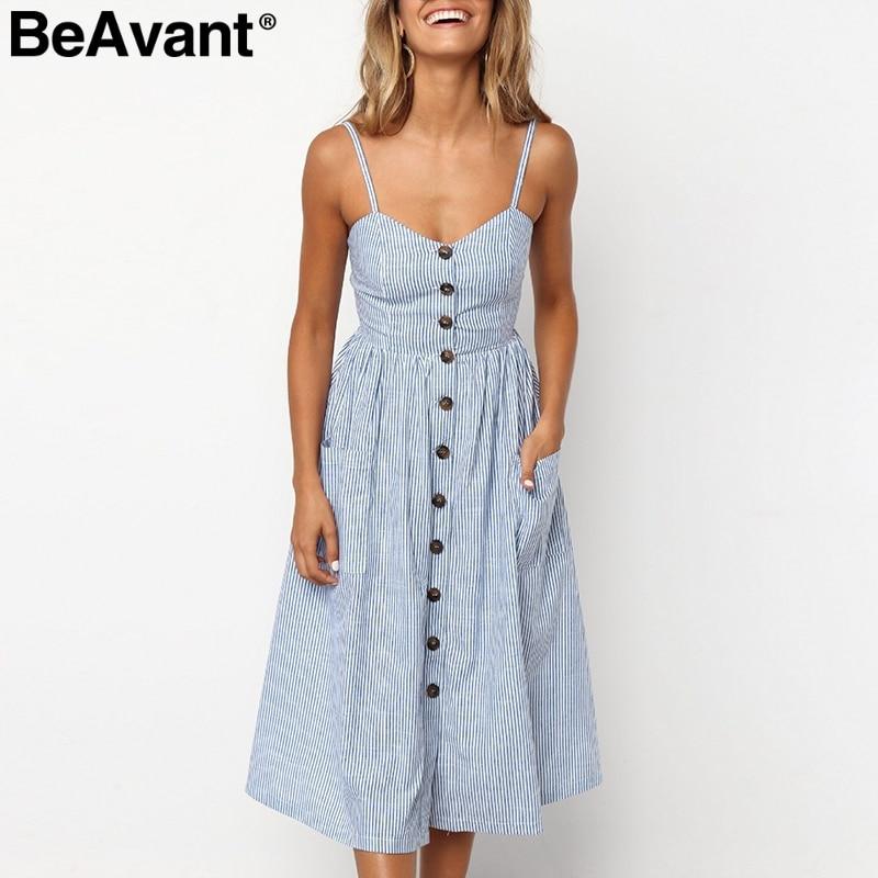 BeAvant-vestido midi de talla grande para mujer, vestido Vintage a rayas de algodón, informal en blanco y rosa para playa