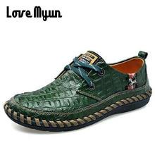 Mature hommes en cuir chaussures rétro décontracté à lacets baskets motif Crocodile hommes mode chaussures plates moyen-âge taille 38-44 AA-18