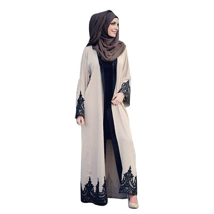 Nuevo abaya para mujeres de encaje de manga larga vestido musulmán islámico turco mujeres ropa Djellaba Robe Dress