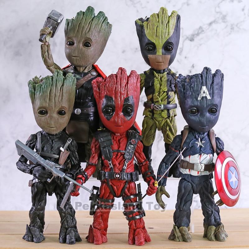 Marvel bebé árbol hombre Cosplay Capitán América Bucky Barnes Deadpool Lobezno PVC acción figura juguete de modelos coleccionables