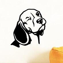 Beagle-autocollant Mural pour voiture   Autocollant en vinyle, pour ordinateur portable, tête de chien, Art Mural, décoration murale de salon