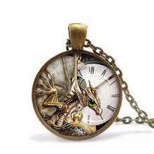 Часы в стиле стимпанк «Alice in Wonderland», часы с динозавром, ожерелье, подвеска, ожерелье, подарок для женщин и мужчин, цепь, модное винтажное ожерелье