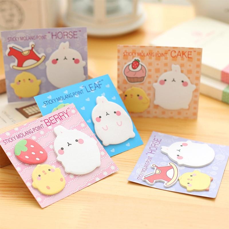 Бесплатная доставка милые мини блокноты Kawaii molan с милым мультяшным кроликом и