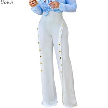 Doyerl-pantalon trompette pour femmes, à jambes larges, à la mode, ample, Sexy, fendu, boutons, taille haute évasée, tendance décontracté