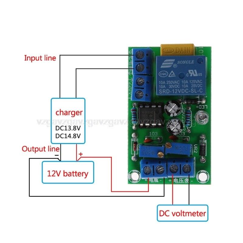Módulo de controlador de carga automático de batería de 12V Módulo de placa de relé de tarjeta de protección cargador inteligente Anti transposición JUL25