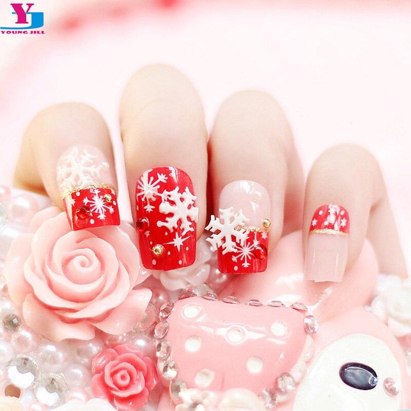 Belleza 24 Uds uñas falsas con diseños de nieve de Navidad 3D Strass Unha acrílico puntas de uñas de gel uv Faux Ongles French Manucure maquillaje