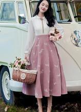 Haute qualité offre spéciale 2018 automne nouveauté rétro offre spéciale col claudine fleur broderie à manches longues femme robe longue