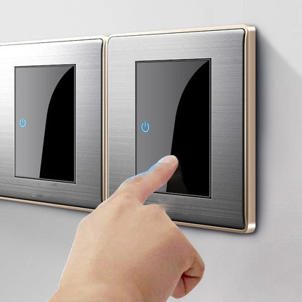 CE 86 type LED random point switch mirror acrylic  household  stainless steel  brushed panel 1/2/3/4 Gang 1 Way 2 Way switch 86 type 1 2 3 4 gang 1 2way coffee aluminum alloy panel switch socket five hole europe industry switch france germany uk socket