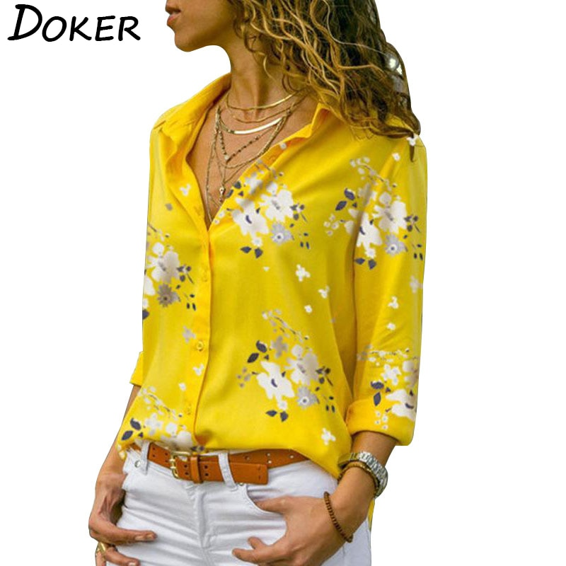 Long Sleeve Women Blouses 2020 Plus Size Turn-down Collar Blouse Shirt Casual Tops Elegant Work Wear Chiffon Shirts 5XL
