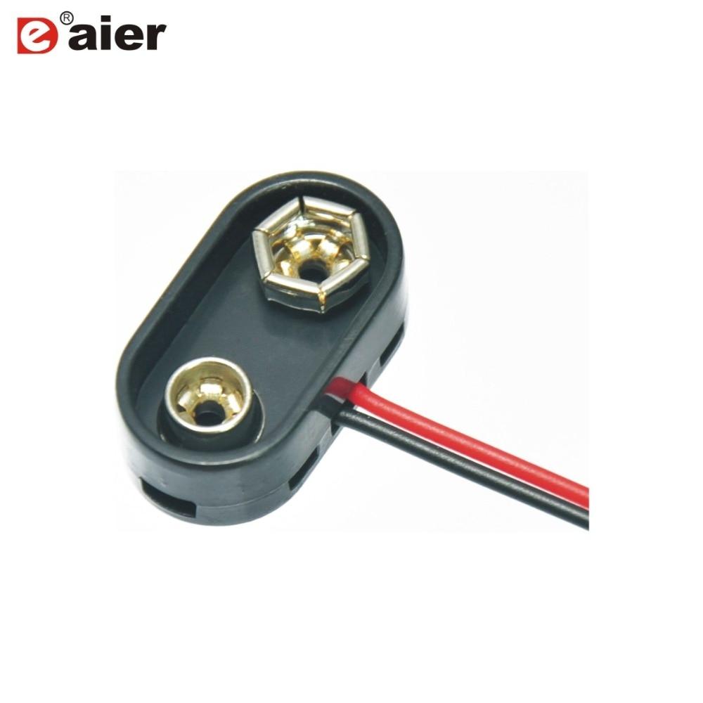 100 Uds DCK4 9V T tipo plástico duro batería titular Clip Snap conector con cables de alambre