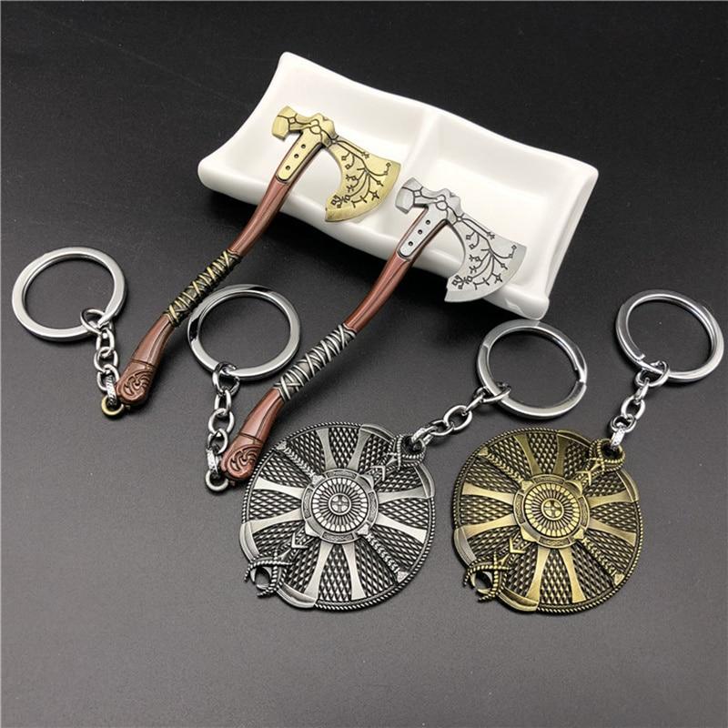 5Style God of war 4 Kratos Shield Axe keychain round pendant keyring Game Dorpshipping fashion jewelry