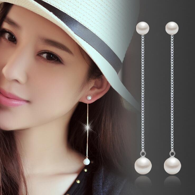 Новое поступление, высокое качество, модные жемчужные ювелирные изделия из стерлингового серебра 925 пробы, женские длинные серьги-гвоздики,...