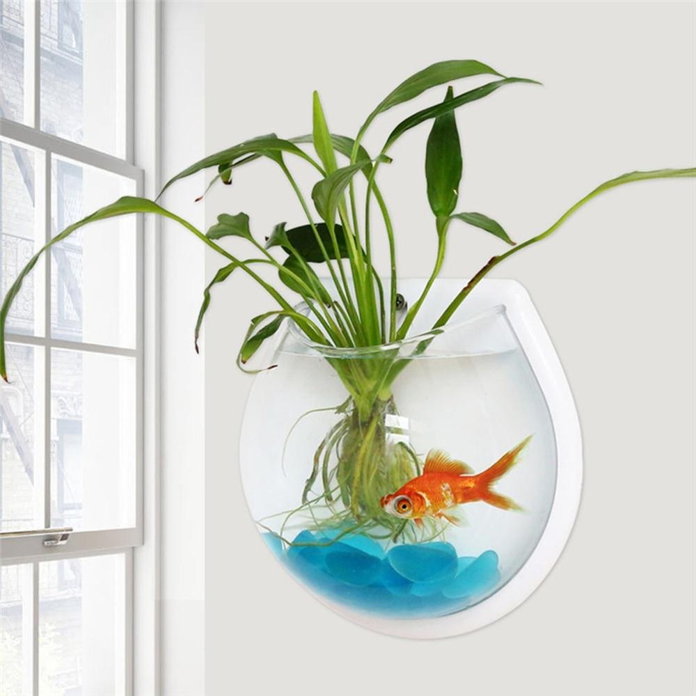 New Transparent Plant Wall Mounted Hanging Fish Tank Flower Round Vase Pot Acrylic Bowl Bubble Aquarium Home Decoration 2 Sizes