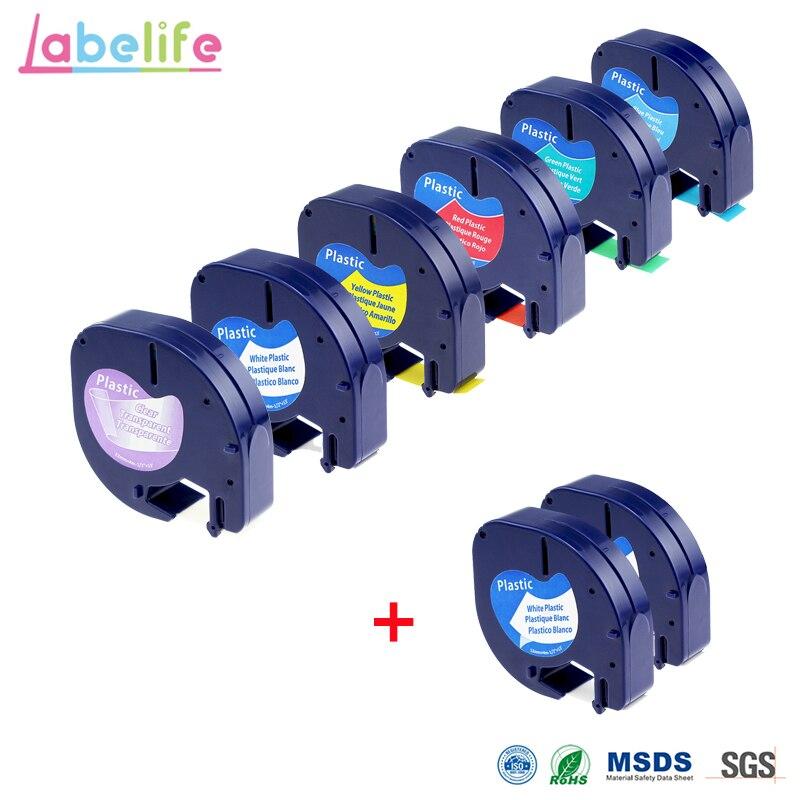 Labelife 8 حزمة كومبو LetraTag البلاستيك 12267 91201 91202 91203 متوافقة DYMO التسمية الشريط ل DYMO التسمية صناع LetraTag LT-100H