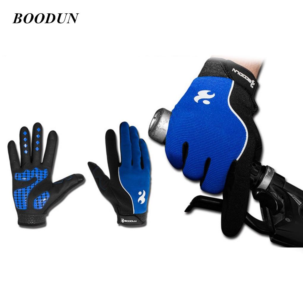 BOODUN Unisex al aire libre de dedo completo para pantalla táctil a prueba de golpes a prueba bicicleta guante reflectante de la raya larga guantes ciclismo guantes