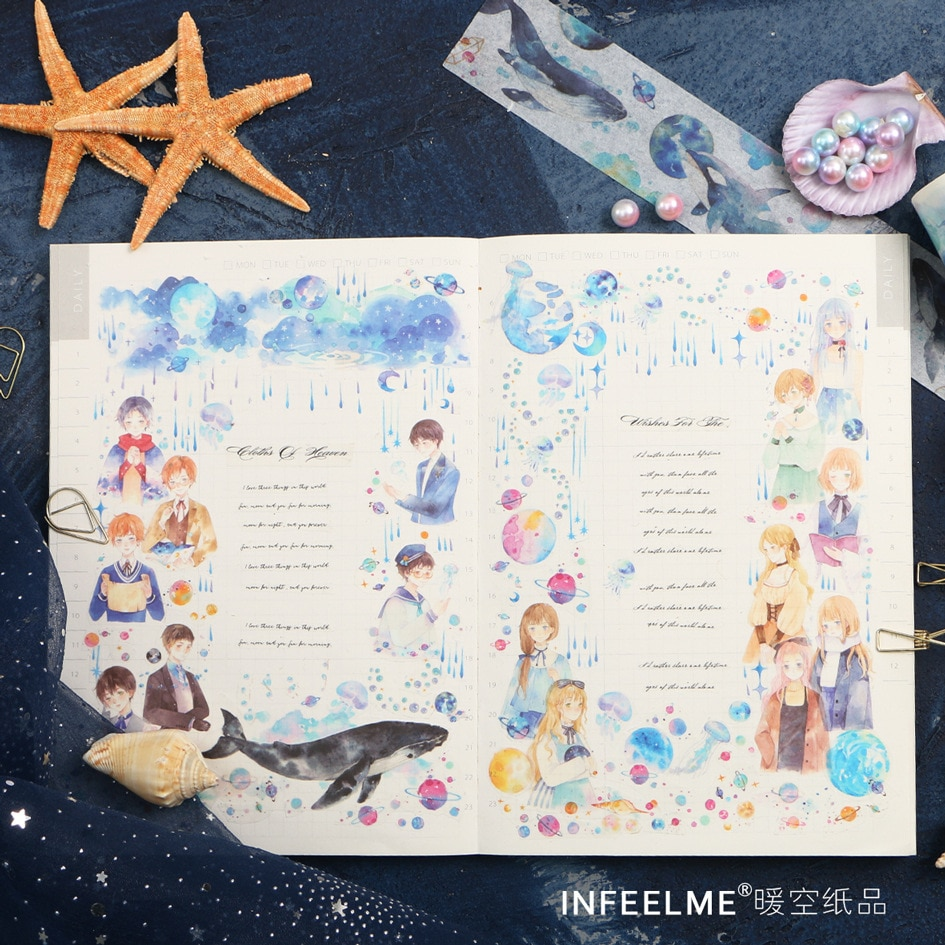 Ocean Starry sky Whale Kawaii agenda manual papel decorativo Washi Tape suministros escolares papelería