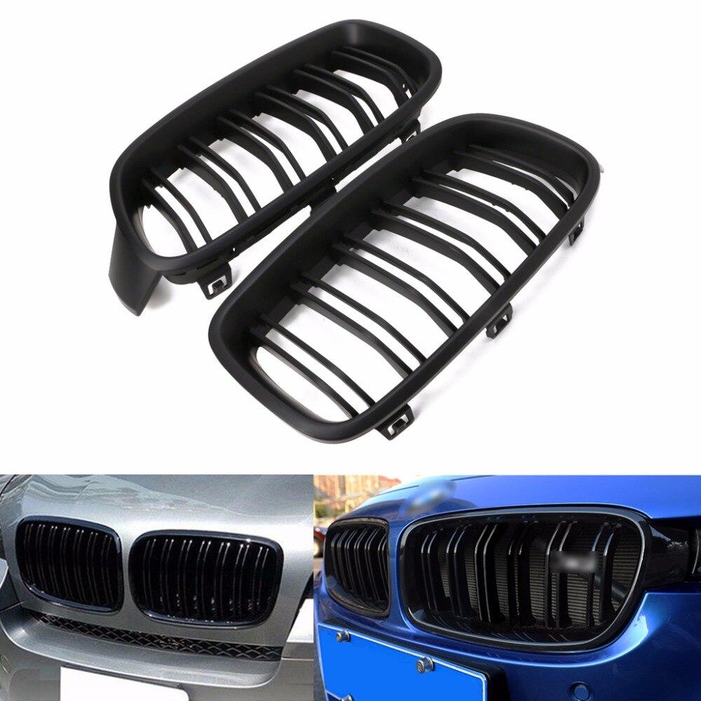 1 par negro brillante/negro mate rejilla frontal riñón para BMW Serie 3 F30 F31 F35 2012-2016 estilo de coche nuevo